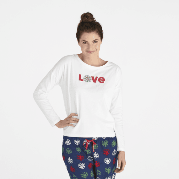 Women's Love Snowflake Snuggle Up Relaxed Sleep Long Sleeve