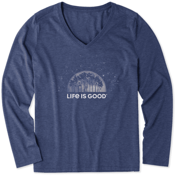 Women's Lunar Trees Long Sleeve Cool Vee