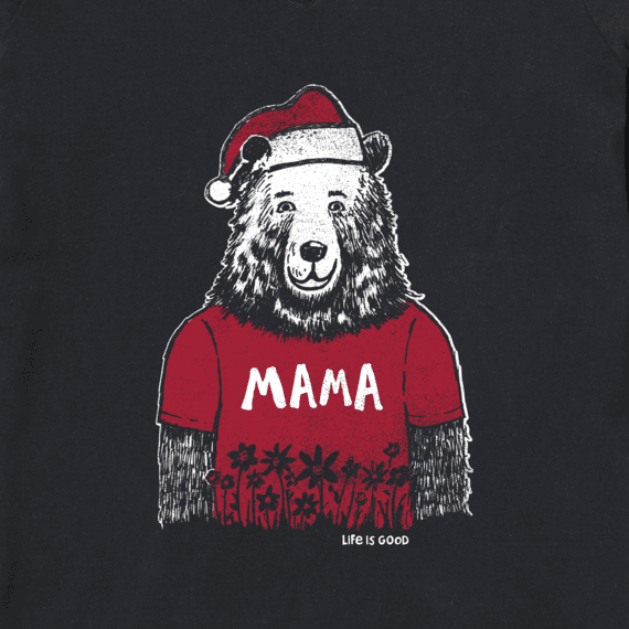 Women's Mama Santa Bear Long Sleeve Crusher Vee