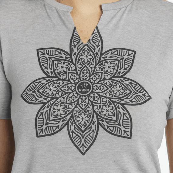 Women's Mandala Bloom Favorite Split Neck Tee
