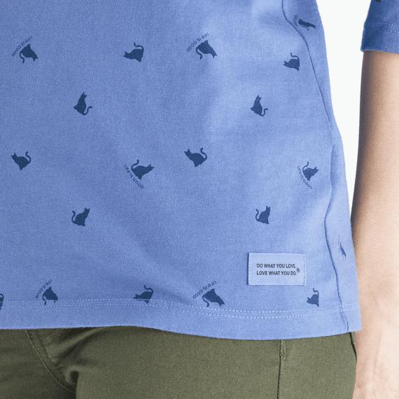 Women's Meow Print Long Sleeve Crusher Tee