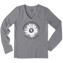 Women's Michigan State Daisy Long Sleeve Cool Vee