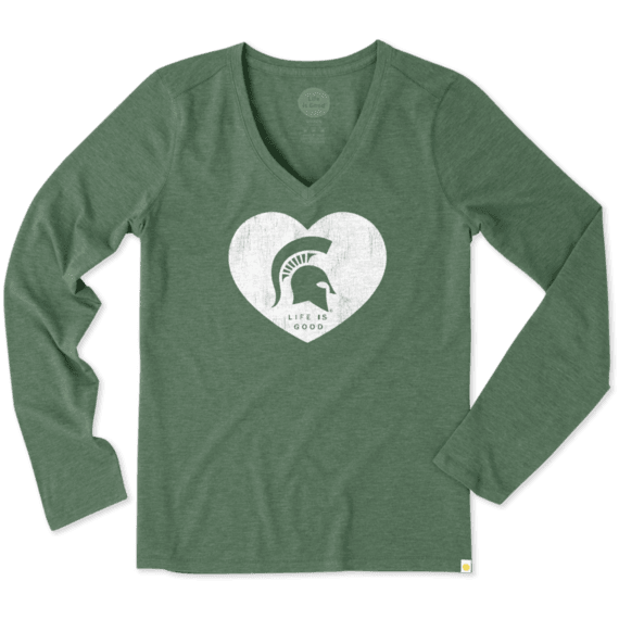 Women's Michigan State Heart Long Sleeve Cool Vee