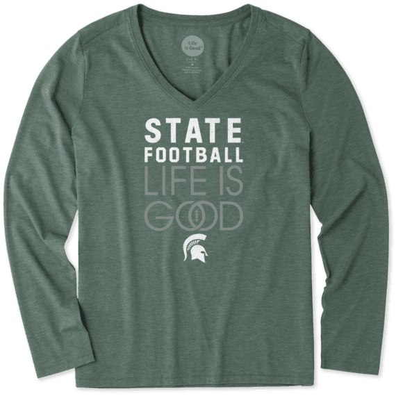 Women's Michigan State Infinity Football Long Sleeve Cool Vee