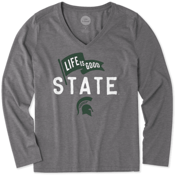 Women's Michigan State Pennant Long Sleeve Cool Vee