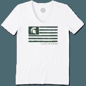 Women's Michigan State Team Flag Cool Vee