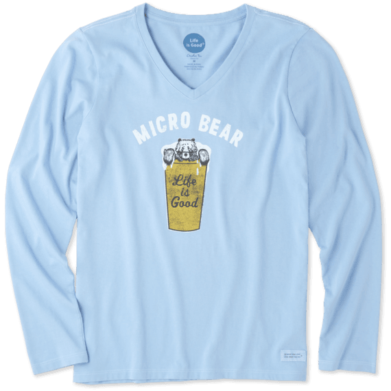 Women's Micro Bear Long Sleeve Crusher Vee