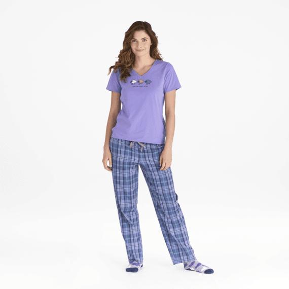 Women's Moonstone Purple Plaid Classic Sleep Pants