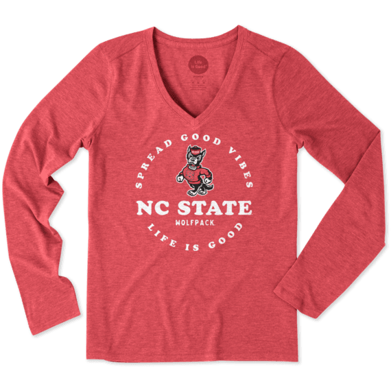 Women's NC State Good Vibes Long Sleeve Cool Vee
