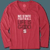 Women's NC State Wolfpack Infinity Football Long Sleeve Cool Vee