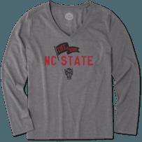 Women's NC State Wolfpack Pennant Long Sleeve Cool Vee