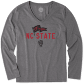 Women's NC State Wolfpack Pennant Long Sleeve Cool Vee