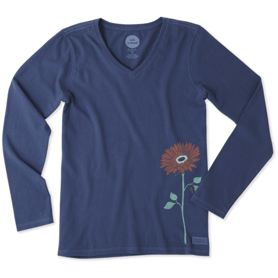 Women's Namaste Flower Long Sleeve Crusher Vee