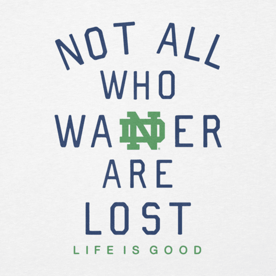 Women's Notre Dame Not All Who Wander Long Sleeve Cool Vee