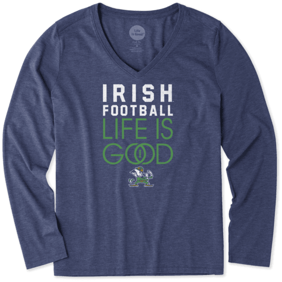 Women's Notre Dame Infinity Football Long Sleeve Cool Vee