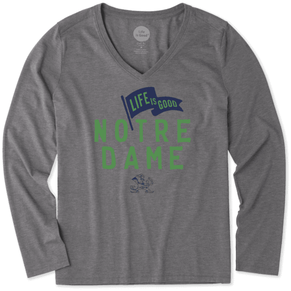 Women's Notre Dame Pennant Long Sleeve Cool Vee