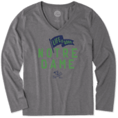 Women's Notre Dame Pennant Long Sleeve Cool Vee