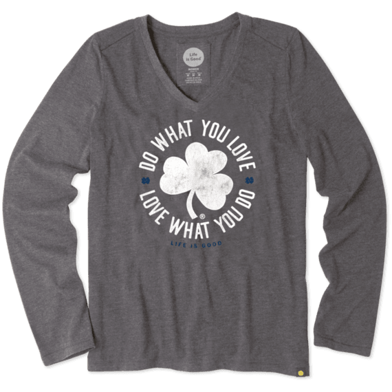 Women S Notre Dame Shamrock Long Sleeve Cool Vee