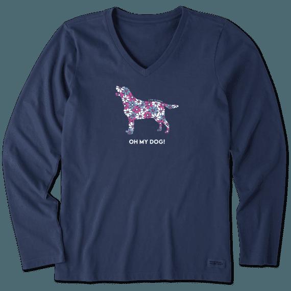 Women's Oh My Dog! Long Sleeve Crusher Vee