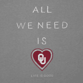 Women's Oklahoma Sooners All We Need Heart Cool Vee