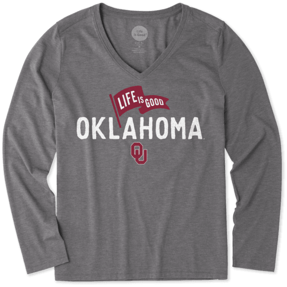 Women's Oklahoma Sooners Pennant Long Sleeve Cool Vee