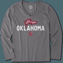 Women's Oklahoma Sooners Pennant Long Sleeve Cool Vee