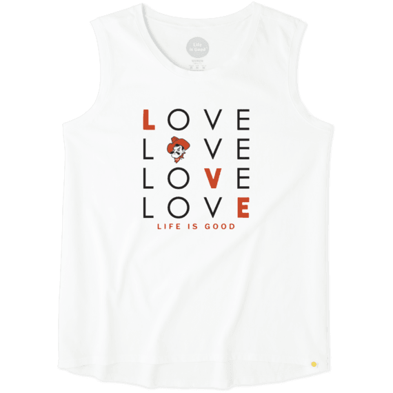Women's Oklahoma State Cowboys Love Stack Sleeveless Tee