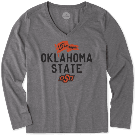 Women's Oklahoma State Cowboys Pennant Long Sleeve Cool Vee