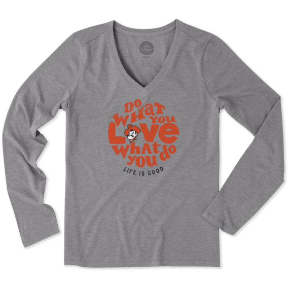 Women's Oklahoma State Cowboys Retro Dwyl Circle Long Sleeve Cool Vee