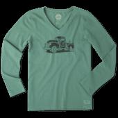 Women's Old School Truck Long Sleeve Crusher Vee