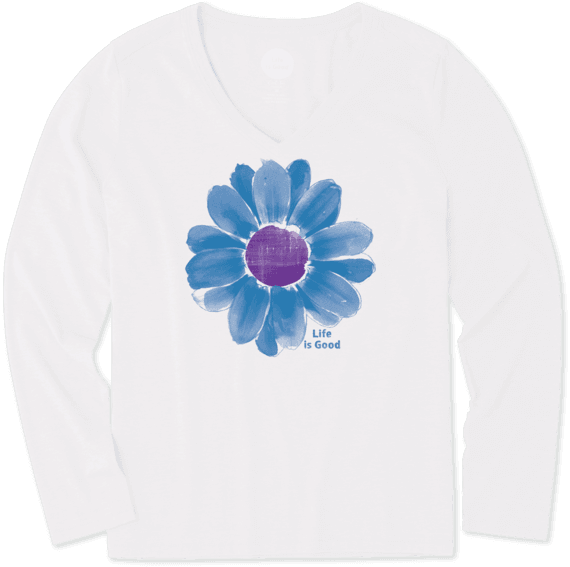 Women's Painted Daisy Long Sleeve Cool Vee