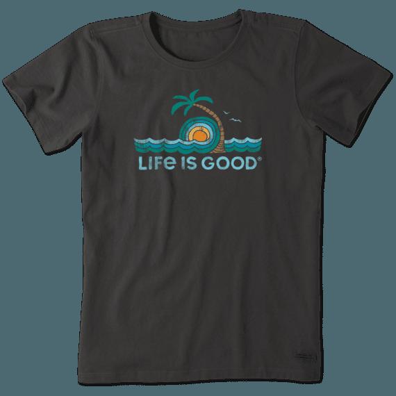 Women's Palm Tree Wave Loop Crusher Tee