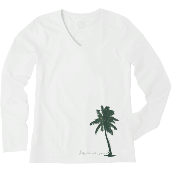 Women's Palm Tree With Lights Long Sleeve Crusher Vee