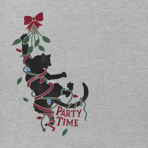 Women's Party Time Cat Long Sleeve Crusher Tee
