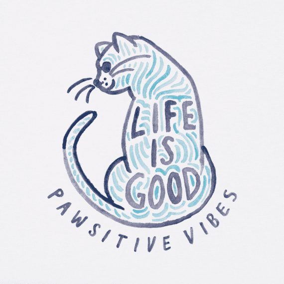 Women's Pawsitive Vibes Cat Crusher Tee