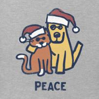 Women's Peace Cat Dog Long Sleeve Crusher Vee