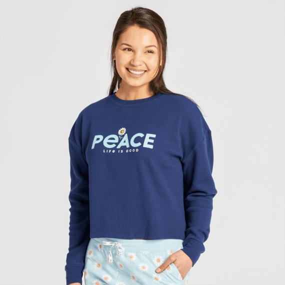Women's Peace Daisy Thermal Long Sleeve Sleep Tee