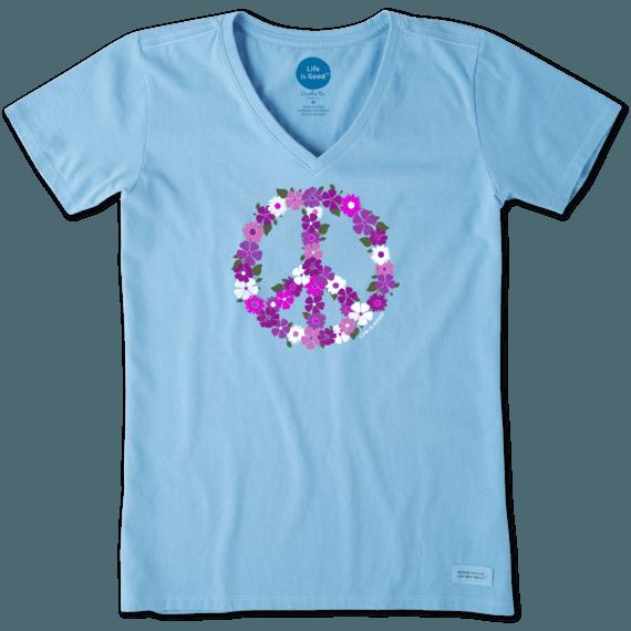 Women's Peace Flowers Crusher Vee