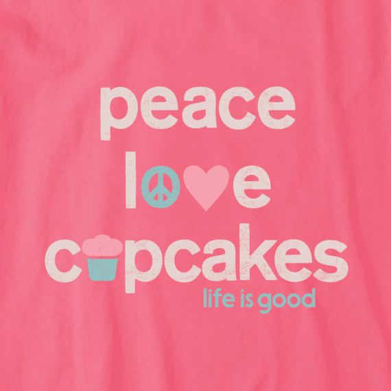 Women's Peace Love Cupcakes Crusher Vee