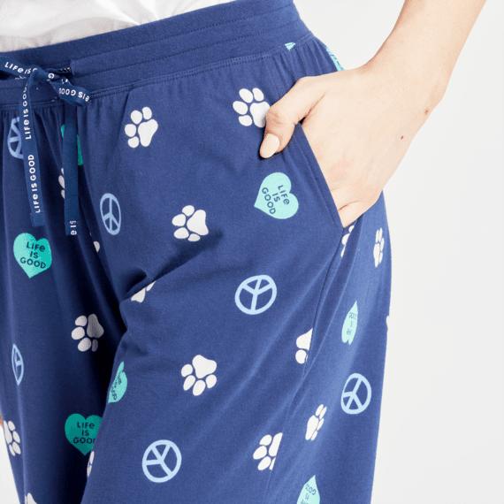 Women's Peace, Love, Dogs Snuggle Up Sleep Pant
