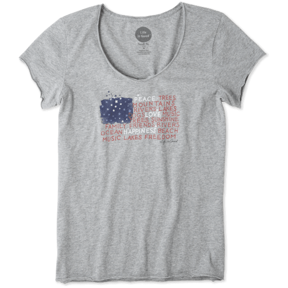 Women's Peace Love Flag Smooth Tee