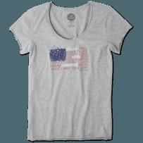 Women's Peace Love Flag Smooth Tee