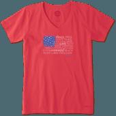 Women's Peace, Love, Happiness Flag Crusher Vee