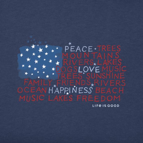 Women's Peace Love Happiness Flag Crusher Vee