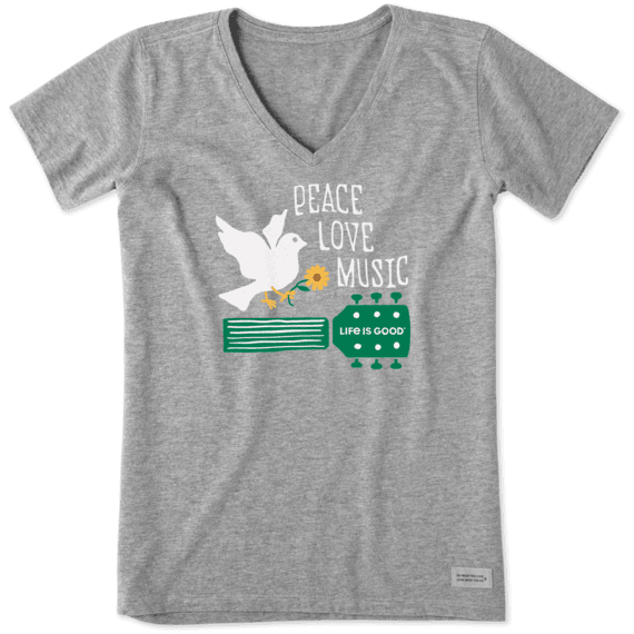 Women's Peace, Love, Music Dove Crusher Vee