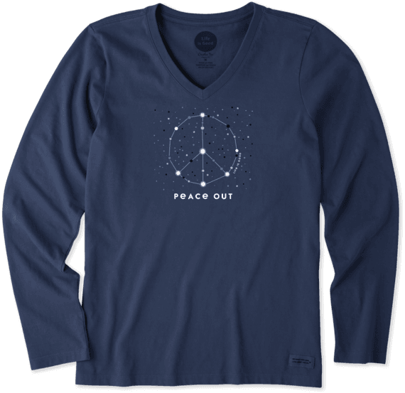 Women's Peace Out Universe Long Sleeve Crusher Vee