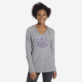 Women's Peaceful Lotus Hooded Long Sleeve Smooth Tee