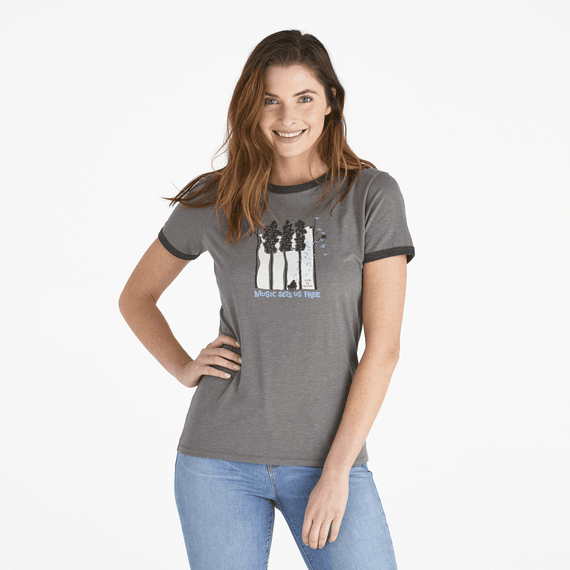 Women's Piano Trees Ringer Cool Tee