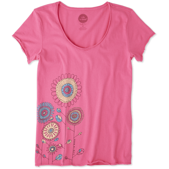 Women's Playful Flowers Smooth Tee