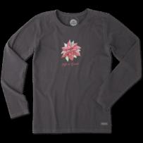 Women's Poinsettia Watercolor Long Sleeve Crusher Tee